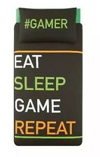 Gamer Eat, Sleep, Game, Repeat Duvet Cover Set - Single Teenagers boys bedding