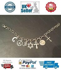 COEXIST Silver Tone Charm Bracelet with Tibetan Silver Charms Live in Peace