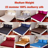 3pc 22mm Heavy Weight 100% Mulberry Silk Fitted Bottom Sheets Pillowcase Set