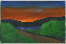 SUNSET MINIMALIST FOLK ART NAIVE LANDSCAPE WHITE MOUNTAINS NH SMALL ART PAINTING