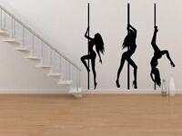 Set of 3 Sexy Pole Dancers Girls Silhouette Wall Sticker Decal Wall Tattoo UK