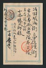 1896 WEI HAI WEI CHINA COVER FROM JAPAN 1s POSTCARD RARE WEI HAI WEI MILY CDS
