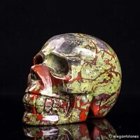 816g Large Natural Dragon Blood Stone Quartz Crystal Hand Carved Skull Healing