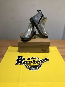 Dr.Martens 2976 Y Silver Crinkle Metallic Chelsea Boots!UK4! New!Only £79,90!