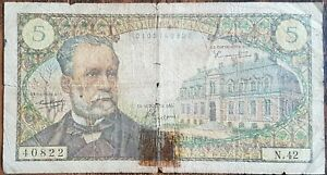 Billet de 5 francs PASTEUR 4 - 11 - 1966 FRANCE N.42  (cf photo)