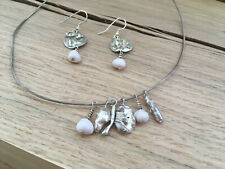 Sterling Silver Beach Style Natural Handcrafted Necklace & Earring Set
