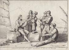 Pinelli, Marinari sul molo di Napoli ascoltando l'Istoria di Rin 1815 acquaforte
