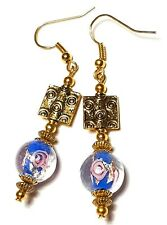 Long Blue & Pink Earrings Glass Bead Gold Plated