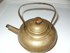 VINTAGE SMALL BRASS TEAPOT WITH WOOD HANDLE