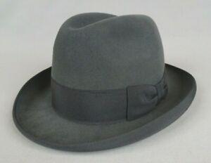 ancien chapeau vintage FLECHET feutre trilby fedora borsalino made in France T55