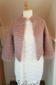 Super Chunky Merino Wool Jacket NEW Blush Pink HANDMADE SMALL (8-12)