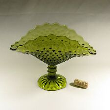 olive green hobnail glass footed bread/fruit dish/compote
