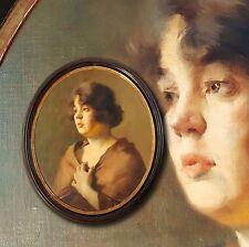 Charmant Portrait de jeune fille dans Style vieux maître. Ovale femme, Signé