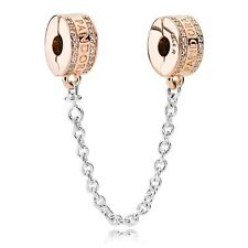 Authentic Pandora Rose Gold Insignia Safety Chain 782057CZ Charm Bead