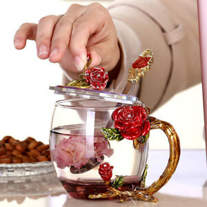 1pc Traditional Red Rose Enamel Crystal Flower Tea Glass Cup Coffee Milk Cup