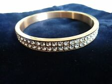 GENUINE SWAROVSKI GOLD PLATED CRYSTAL NEW YORK BANGLE SIZE MEDIUM