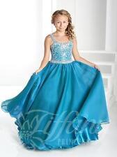 Tiffany Princess 13418 Teal Rhinestone Girls Pageant Gown Dress sz 6