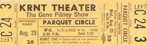 GENE PITNEY 1967 JUST ONE SMILE TOUR UNUSED KRNT CONCERT TICKET / NM 2 MNT No. 3
