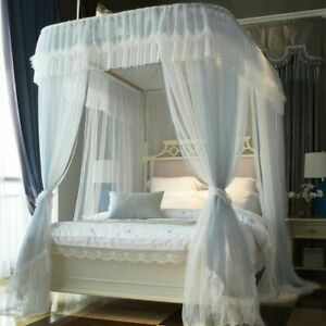 Canopy Bedcover Curtain With Frame Double Layer Three Door Mosquito Net Textiles