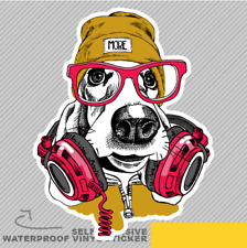 Basset Hound Dog Gafas rojo hacen de Ventana Pegatina Calcomanía Vinilo Coche Furgoneta Bici 2885