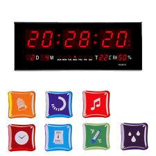 Digital LED Display Wall Desk Clock Alarm Calendar Temperature Humidity