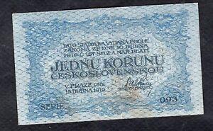 1 Korun From Czechoslovakia 1919 Fine