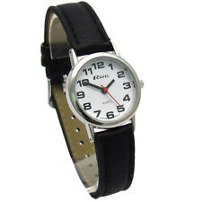 Ravel Womens Big Numbers Easy to Read Watch Black Faux Leather Long Strap Silv