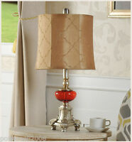 European Style E27 Height 53CM Glass+Fabric Creative Bedroom Bedside Table Lamp