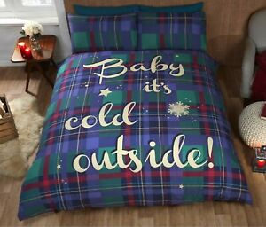 Bedding Heaven® BABY IT'S COLD OUTSIDE Print DUVET COVER - King Size - BLUE