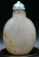 Antica Tabacchiera IN Agata Fatto A Mano Antico Fiuto Bottiglia