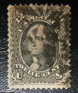 US Stamps: 1861 Scott #69 Washington 12c Black, nicely centered
