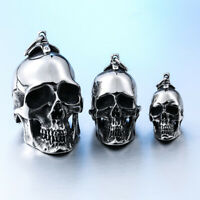NEW Heavy Three Size Retro Stainless Steel Punk Skull Pendant For Chain Necklace