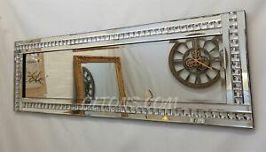Full Length ArtDeco Acrylic Crystal Glass Design Bevelled Mirror 120x40cm Silver