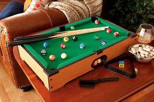 Mini Pool Table Set w/ Pool Balls Pool Cues Lightweight Portable Billiard Table