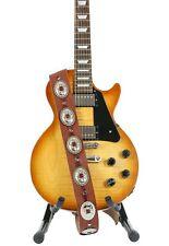 Conch Guitar Strap Genuine Leather Guitar/Bass Strap USA Handmade -Tan Saddle