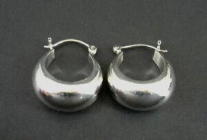 """Earrings Sterling Puffy Wider Hoops Silver 925 Pierced 1"""" Long Earrings"""