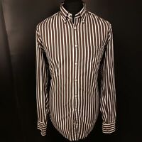 GANT Mens Casual Shirt LARGE Long Sleeve Brown E-Z Fit Striped Cotton