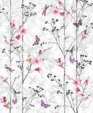 TREES BUTTERFLIES BIRDS PINK FLOWERS FEATURE DESIGNER WALLPAPER 102550 MURIVA