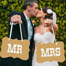 Vintage Style Mr & Mrs Rustic Wedding Banner Bunting Heart Chair Decoration UK