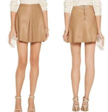 Alice + Olivia Russo Lamb Leather Pleat Skirt Natural Size 6 NWT
