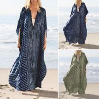 ZANZEA 8-24 Women Summer Full Length Stripe Kaftan Caftan Abaya Long Maxi Dress