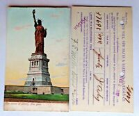 Statue of Liberty Postcard Colorized & NY RR Ticket Postcard Vintage 1907; 1912