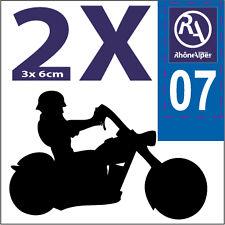 2 stickers style plaque immatriculation moto Département RHONE ALPES RA 07