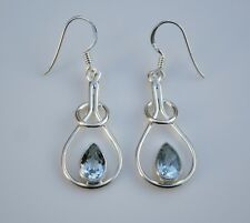 BOXED HANDCRAFTED STERLING SILVER ART NOUVEAU STYLE 3CT BLUE TOPAZ EARRINGS