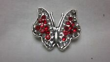 BOGO RED BUTTERFLY RHINESTONE 18-20MM BUTTON SNAP FITS GINGER SNAP MAGNOLIA VINE