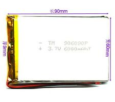 6000mAh 3.7 V  lipo Polymer  Battery MP3 DVD GPS LED Headphone 906090