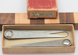 """Pair of NOS 4"""" Starrett No. 27 Firm Joint Inside Calipers IOB (INV J674)"""
