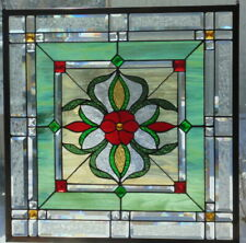 Stained Glass window hanging 25 1/2 X 25 1/2 BRASS Frame (edging)