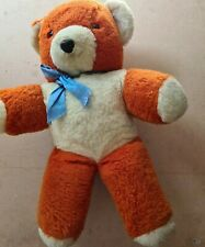 More details for vintage chad valley chiltern  orange & white teddy bear soft toy  approx 16