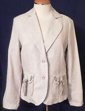 Coldwater Creek Tan Jacket Womens Small Long Sleeve Topstitch Tie Detail New